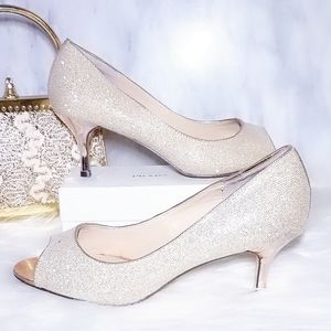 I. Miller Gold Pumps Peep Toe Stiletto Heels 7